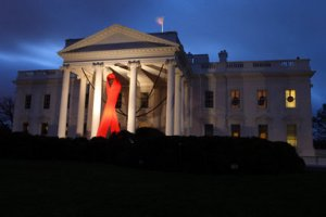 AIDS Day Ribbon on North Portico
